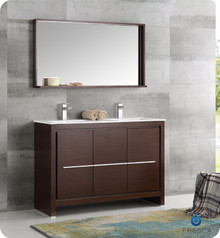 "Fresca  FVN8148WG-D Allier 48"" Wenge Brown Modern Double Sink Bathroom Vanity w/ Mirror"