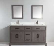 Vanity Art VA1072DG 72 Inch Double Sink Vanity Cabinet with Phoenix Stone Sink & Mirror - Grey