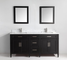 Vanity Art VA2072DE 72 Inch Double Sink Vanity Cabinet with Carrara Marble Vanity Top - Espresso