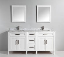 Vanity Art VA2072DW 72 Inch Double Sink Vanity Cabinet with Carrara Marble Vanity Top - White