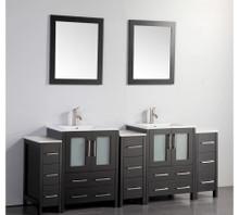 Vanity Art VA3024-84E 84 Inch Double Sink Vanity Cabinet with Ceramic Sink & Mirror - Espresso
