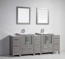 Vanity Art VA3024-84G 84 Inch Double Sink Vanity Cabinet with Ceramic Sink & Mirror - Grey