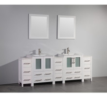 Vanity Art VA3024-84W 84 Inch Double Sink Vanity Cabinet with Ceramic Sink & Mirror - White