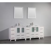 Vanity Art VA3024-84W 84 Inch Double Sink Vanity Cabinet with Ceramic Sink & Mirror - White