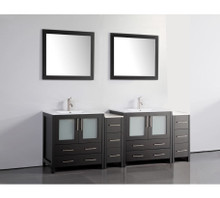 Vanity Art VA3030-84E 84 Inch Double Sink Vanity Cabinet with Ceramic Sink & Mirror - Espresso