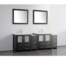 Vanity Art VA3030-84E 84 Inch Double Sink Vanity Cabinet with Ceramic Sink & Mirror - Espresso