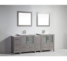 Vanity Art VA3030-84G 84 Inch Double Sink Vanity Cabinet with Ceramic Sink & Mirror - Grey