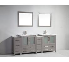 Vanity Art VA3030-84G 84 Inch Double Sink Vanity Cabinet with Ceramic Sink & Mirror - Grey