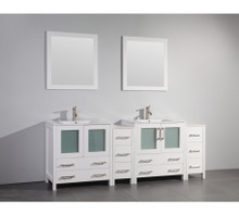 Vanity Art VA3030-84W 84 Inch Double Sink Vanity Cabinet with Ceramic Sink & Mirror - White
