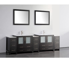 Vanity Art VA3030-96E 96 Inch Double Sink Vanity Cabinet with Ceramic Sink & Mirror - Espresso