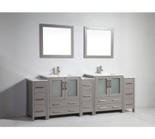 Vanity Art VA3030-96G 96 Inch Double Sink Vanity Cabinet with Ceramic Sink & Mirror - Grey
