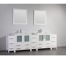 Vanity Art VA3030-96W 96 Inch Double Sink Vanity Cabinet with Ceramic Sink & Mirror - White