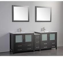 Vanity Art VA3036-84E 84 Inch Double Sink Vanity Cabinet with Ceramic Sink & Mirror - Espresso
