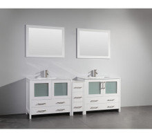 Vanity Art VA3036-84W 84 Inch Double Sink Vanity Cabinet with Ceramic Sink & Mirror - White
