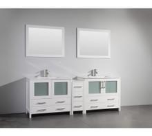 Vanity Art VA3036-84W 84 Inch Double Sink Vanity Cabinet with Ceramic Sink & Mirror - White