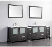 Vanity Art VA3036-96E 96 Inch Double Sink Vanity Cabinet with Ceramic Sink & Mirror - Espresso