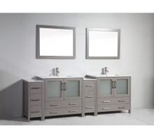 Vanity Art VA3036-96G 96 Inch Double Sink Vanity Cabinet with Ceramic Sink & Mirror - Grey