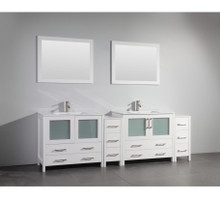 Vanity Art VA3036-96W 96 Inch Double Sink Vanity Cabinet with Ceramic Sink & Mirror - White