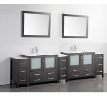 Vanity Art 108 Inch Double Sink Bathroom Vanity Cabinet with Two Sinks & Two Mirror - Espresso