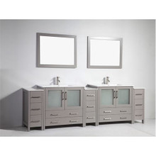 Vanity Art 108 Inch Double Sink Bathroom Vanity Cabinet with Two Sinks & Two Mirror - Grey