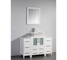 Vanity Art VA3124-48W 48 Inch Vanity Cabinet with Ceramic Sink & Mirror - White