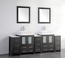Vanity Art VA3124-84E 84 Inch Double Sink Vanity Cabinet with Ceramic Vessel Sink & Mirror - Espresso