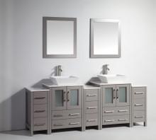 Vanity Art VA3124-84G 84 Inch Double Sink Vanity Cabinet with Ceramic Vessel Sink & Mirror - Grey