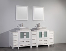 Vanity Art VA3124-84W 84 Inch Double Sink Vanity Cabinet with Ceramic Vessel Sink & Mirror - White