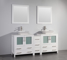 Vanity Art VA3130-72W 72 Inch Double Sink Vanity Cabinet with Ceramic Vessel Sink & Mirror - White