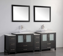 Vanity Art VA3130-84E 84 Inch Double Sink Vanity Cabinet with Ceramic Vessel Sink & Mirror - Espresso