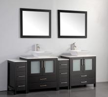 Vanity Art VA3130-84E 84 Inch Double Sink Vanity Cabinet with Ceramic Vessel Sink & Mirror - Espresso