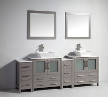 Vanity Art VA3130-84G 84 Inch Double Sink Vanity Cabinet with Ceramic Vessel Sink & Mirror - Grey