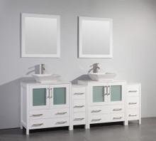 Vanity Art VA3130-84W 84 Inch Double Sink Vanity Cabinet with Ceramic Vessel Sink & Mirror - White