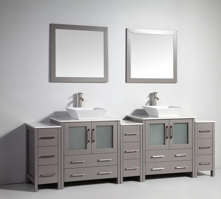Vanity Art Va3130 96g 96 Inch Double Sink Vanity Cabinet With Ceramic Vessel Sink Mirror Grey