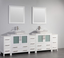 Vanity Art VA3130-96W 96 Inch Double Sink Vanity Cabinet with Ceramic Vessel Sink & Mirror - White