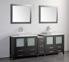Vanity Art VA3136-84E 84 Inch Double Sink Vanity Cabinet with Ceramic Vessel Sink & Mirror - Espresso