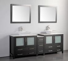 Vanity Art VA3136-84E 84 Inch Double Sink Vanity Cabinet with Ceramic Vessel Sink & Mirror - Espresso