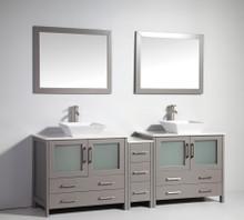 Vanity Art VA3136-84G 84 Inch Double Sink Vanity Cabinet with Ceramic Vessel Sink & Mirror - Grey