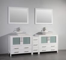 Vanity Art VA3136-84W 84 Inch Double Sink Vanity Cabinet with Ceramic Vessel Sink & Mirror - White