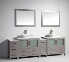Vanity Art VA3136-96G 96 Inch Double Sink Vanity Cabinet with Ceramic Vessel Sink & Mirror - Grey