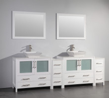 Vanity Art VA3136-96W 96 Inch Double Sink Vanity Cabinet with Ceramic Vessel Sink & Mirror - White