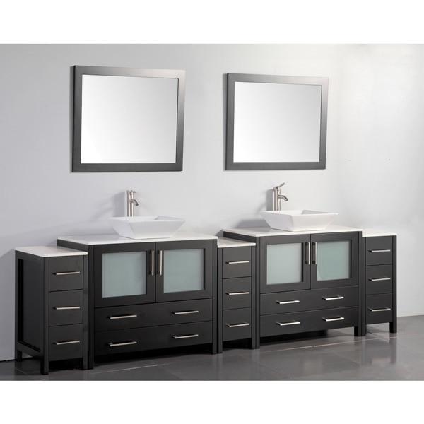Vanity Art 108 Inch Double Sink Bathroom Vanity Cabinet With Two Sinks Two Mirror Espresso