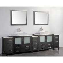 Vanity Art 108 Inch Double Sink Bathroom Vanity Cabinet with Two Sinks & Two Mirror - Espresso VA3136-108E