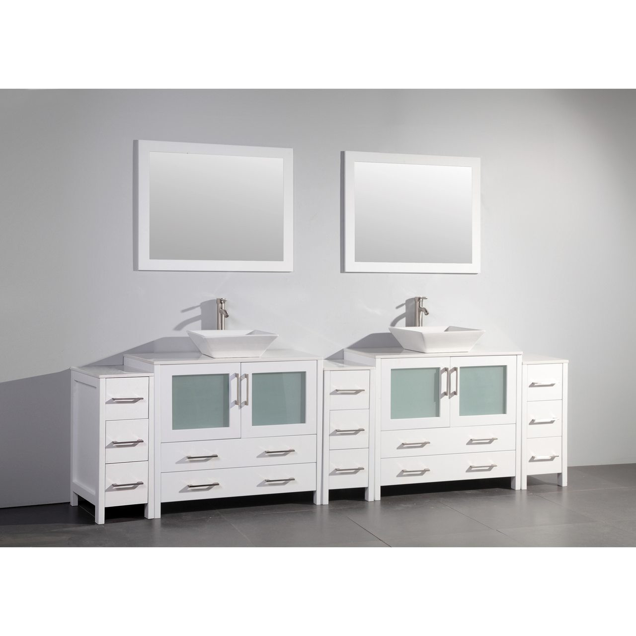 Vanity Art 108 Inch Double Sink Bathroom Vanity Cabinet With Two Sinks Two Mirror White