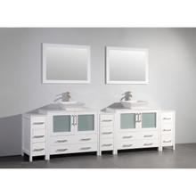 Vanity Art 108 Inch Double Sink Bathroom Vanity Cabinet with Two Sinks & Two Mirror - White VA3136-108W