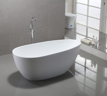 "Vanity Art VA6515 59"" Bathroom Freestanding Acrylic Soaking Bathtub - White"