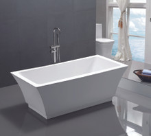 "Vanity Art VA6817 59"" Bathroom Freestanding Acrylic Soaking Bathtub - White"