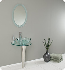 "FVN1036 Fresca Netto 24"" Modern Glass Bathroom Vanity w/ Wavy Edge Vessel Sink"