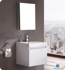 "FVN8006WH Fresca Nano 24"" White Modern Bathroom Vanity w/ Medicine Cabinet"