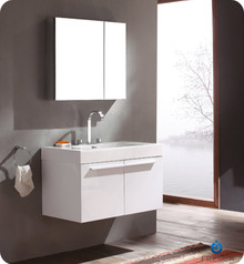 "FVN8090WH Fresca Vista 36"" White Modern Bathroom Vanity w/ Medicine Cabinet"
